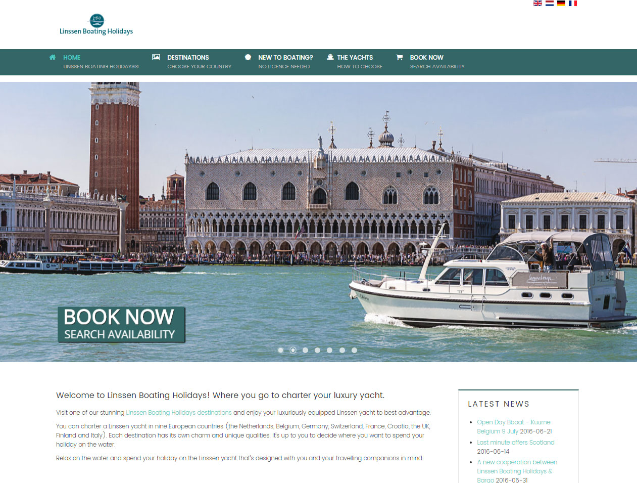 Linssen Boating Holidays website